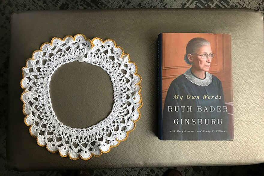 Supreme Court Justice Ruth Bader Ginsburg donated one of her lace collars and a copy of the book <em>My Own Words</em> to the Museum of the Jewish People in Tel Aviv.