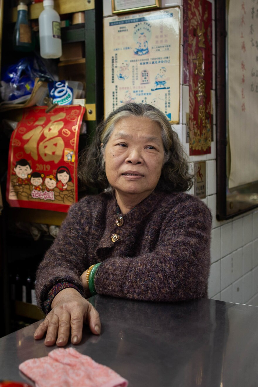 Mrs. Cheung runs a tea shop in a bustling part of the Mong Kok neighborhood. Business has been down since the outbreak began.