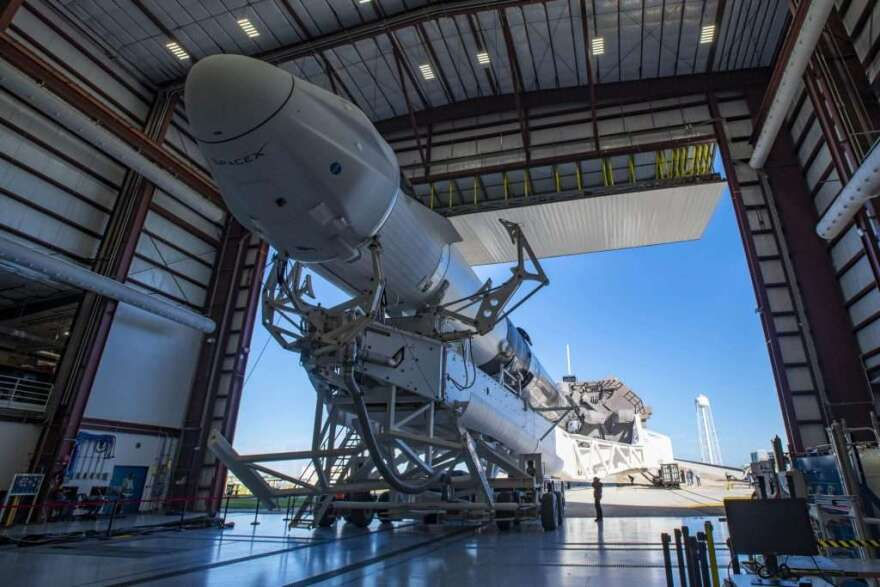 SpaceX & NASA's CRS-21 mission rolls out to pad 39-A at Kennedy Space Center. Photo: NASA