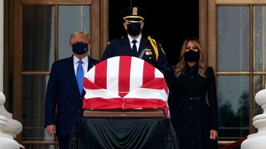President Trump and first lady Melania Trump pay their respects to Supreme Court Justice Ruth Bader Ginsburg as she lies in repose in front of the Supreme Court on Sept. 24.
