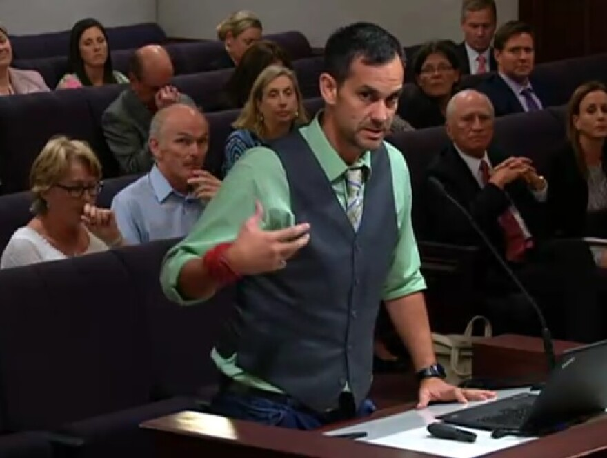 Demetrius Branca of Tallahassee speaking during the Senate Committee on Communications, Energy, and Public Utilities Tuesday.