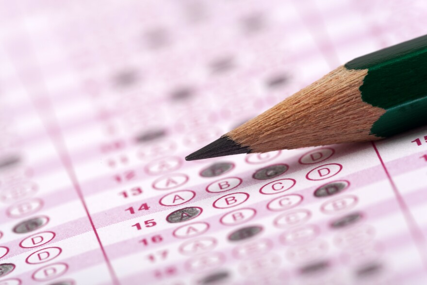 Photo of a Scantron sheet illustrating a student's answers on an Advanced Placement test.