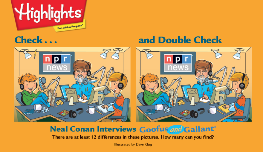 """<em>Highlights</em> magazine saluted <em>Talk of the Nation </em>with this """"Check... and Double Check"""" game featuring Neal Conan."""