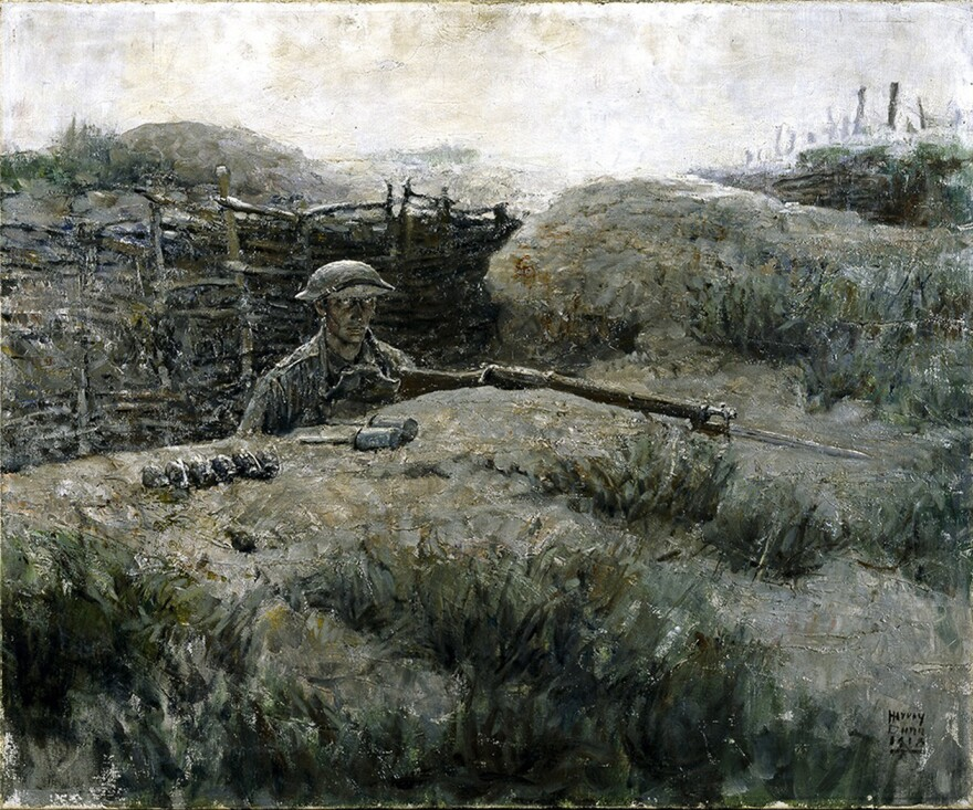 """Harvey Dunn's 1918 oil painting<em> The Sentry</em> shows a soldier coming up from the trenches. """"You see in his eyes what would later become known as the thousand-yard stare,"""" says exhibit curator Peter Jakab."""