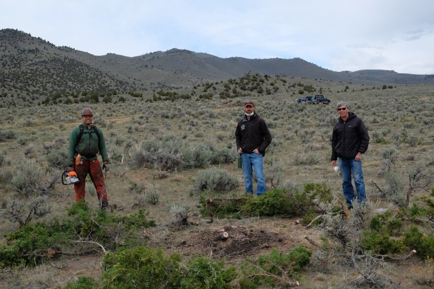 Justin Hartman, Sean Claffey and Tim Egan working in Beaverhead County on May 12, 2020.
