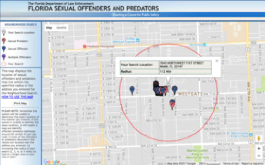 A search of all the registered sex offenders at the location.