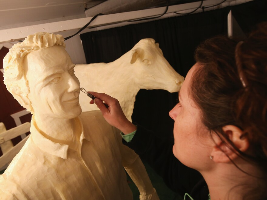 Butter sculptures are not limited to Ohio. At the Iowa State Fair in 2014, artist Sarah Pratt sculpted a statue of Kevin Costner as Ray Kinsella, a character in <em>Field of Dreams</em> out of butter.