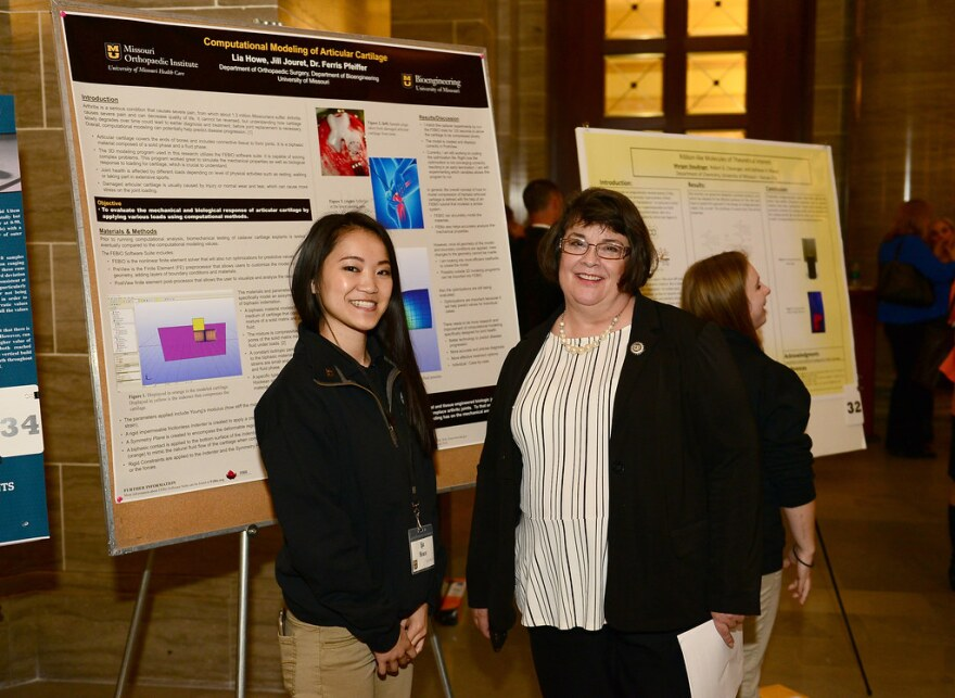Missouri State Rep. Rebecca Roeber with a student during the 2017 Undergraduate Research Day in Jefferson City.