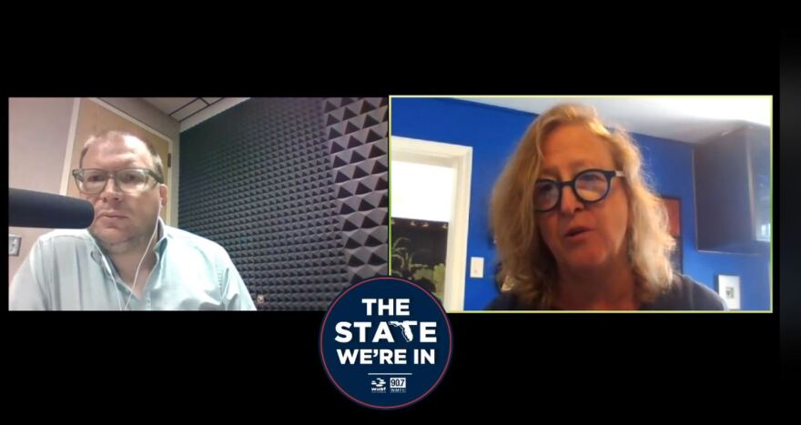 Host Bradley George talks with Donna Petersen, dean of USF's College of Public Health.