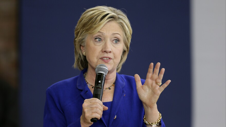 Democratic presidential candidate Hillary Clinton speaks during a community forum Tuesday at Moulton Elementary School in Des Moines, Iowa.