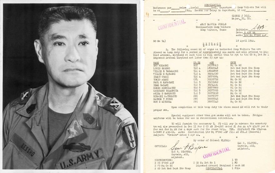 (Left) A portrait of Louis Bessho from 1969. (Right) Military orders from April 1944 for Japanese-American soldiers, including Bessho, who were part of the military's mustard gas testing at Edgewood Arsenal in Maryland.