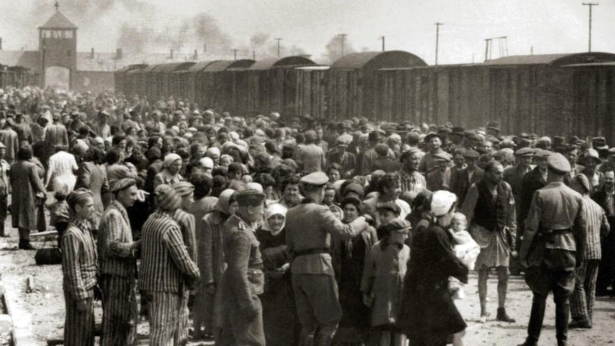 Hungarian Jews on the ramp at Auschwitz II-Birkenau in German-occupied Poland, around May 1944.