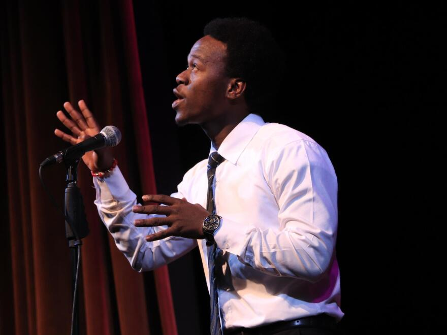 Asylum-seeker Allan Monga, 19, won Maine's Poetry Out Loud competition in March. But he's been barred from the national competition because he's not a citizen or permanent resident.
