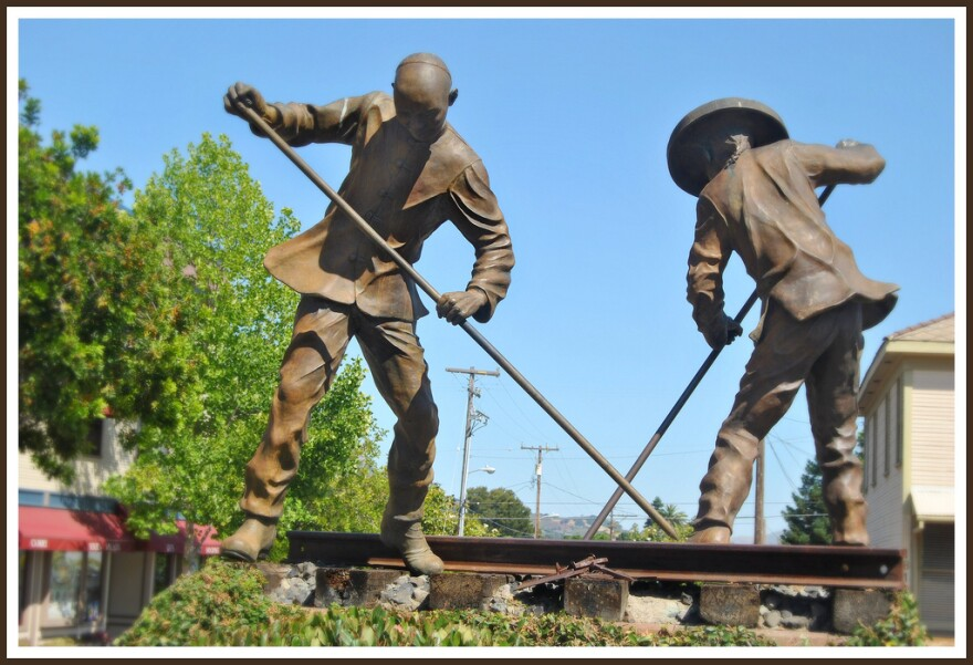 The Chinese Exclusion Act of 1882 was crafted to prevent more Chinese laborers from entering the country. Pictured is a statue of a couple of Chinese rail workers, taken just outside the San Luis Obispo Amtrak Station.