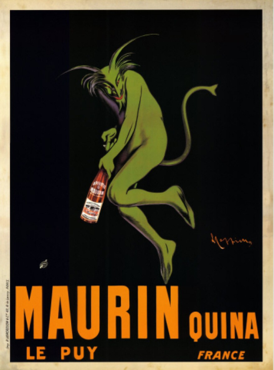 Often mistaken as an ad for absinthe, this 1906 poster actually promotes Maruin Quina, a French aperitif made with white wine infused with cherries, citrus and quinine.