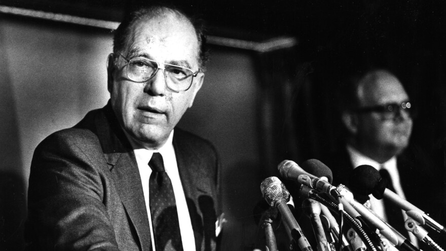 Lyndon LaRouche speaks at a press conference in Washington, D.C. in 1988. He ran for president eight times.