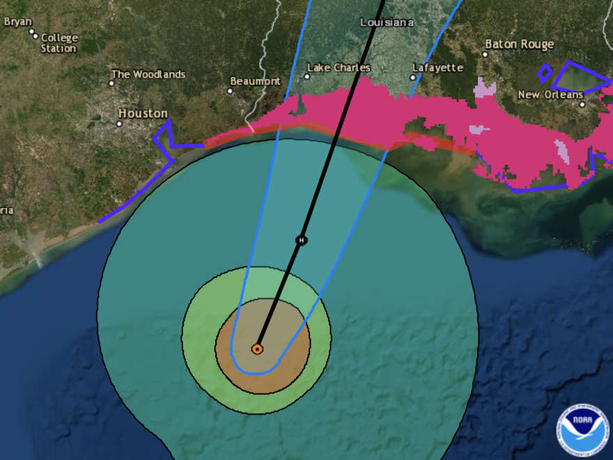 Hurricane Delta is projected to make landfall east of the Texas-Louisiana border, close to the spot where Hurricane Laura devastated communities in August.
