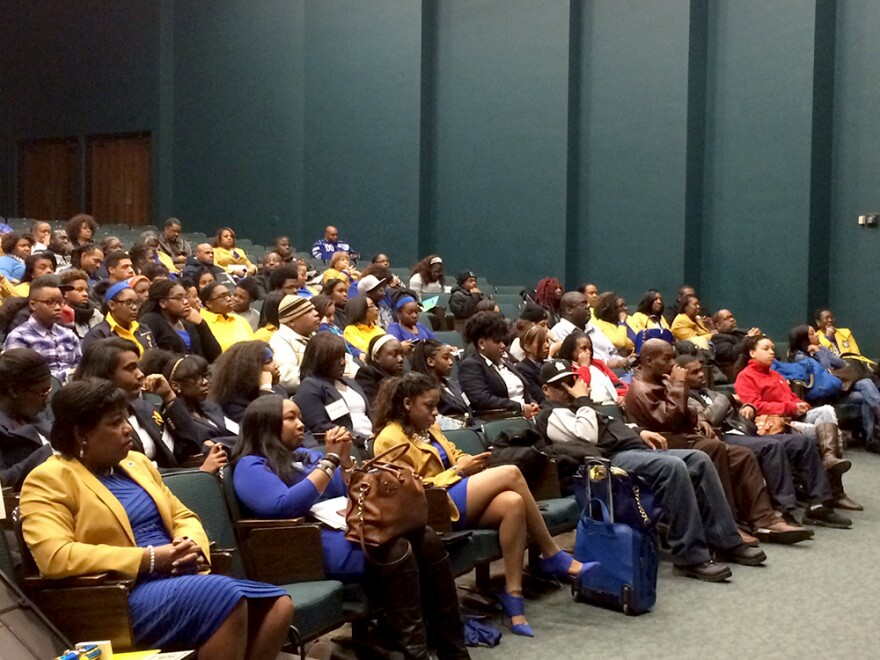 The crowd at the Sigma Gamma Rho town hall Saturday at the University of Missouri-St. Louis.