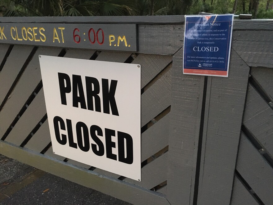 Upper Tampa Bay Park after Hillsborough announced it closed the parks to the public to slow the spread of COVID-19. The Department of Enrovronmental Protection issued a similar statewide order on March 23.