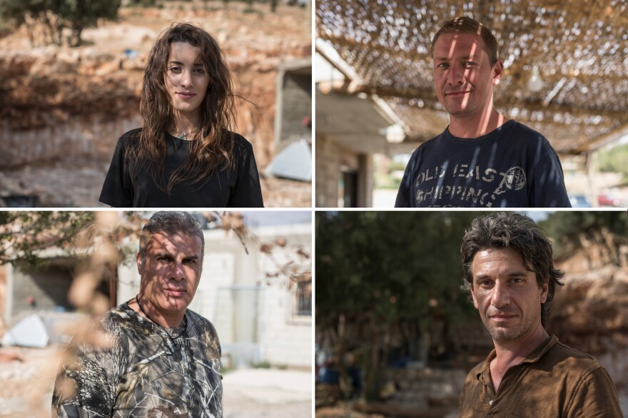 Clockwise from top left: Sherine Bou Raffoul, director of the anti-poaching unit of the Middle East Sustainable Hunting Center; Lloyd Scott, from England, a volunteer for the Committee Against Bird Slaughter; Adonis Al Khatib, director of the Middle East Sustainable Hunting Center; and Filippo Bamberghi, from Italy, with the Committee Against Bird Slaughter.