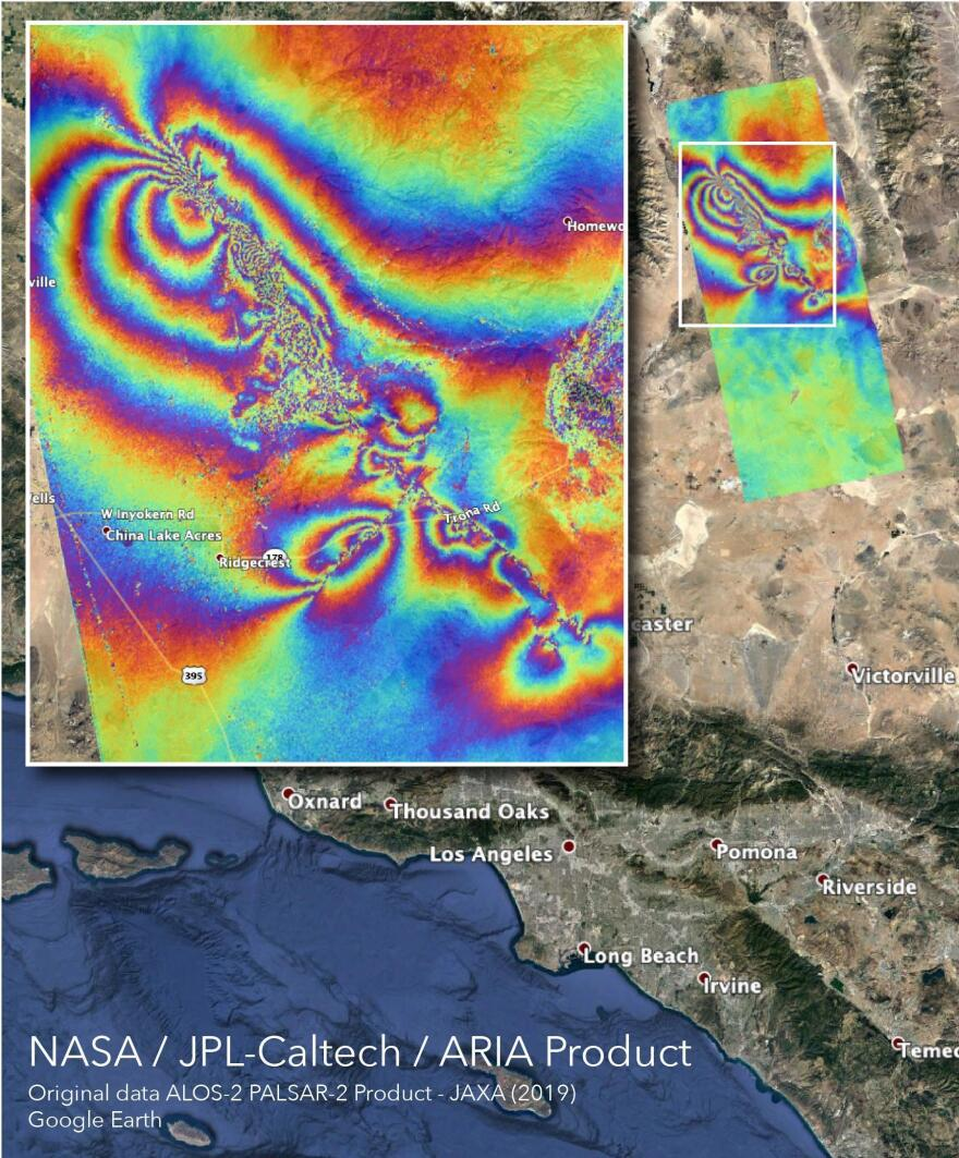 NASA's Advanced Rapid Imaging and Analysis team created this map, which shows surface displacement caused by the recent major earthquakes in Southern California.