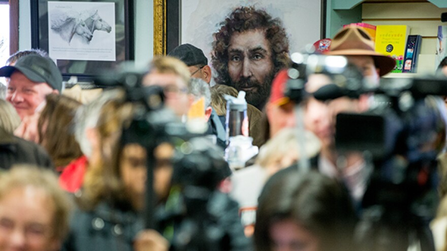 A large painting of Jesus is displayed in the back of the room at King's, where Cruz spoke.