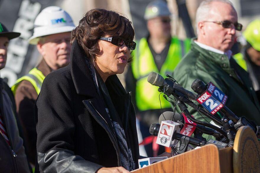 Flint Mayor Karen Weaver speaks at a press conference in March.