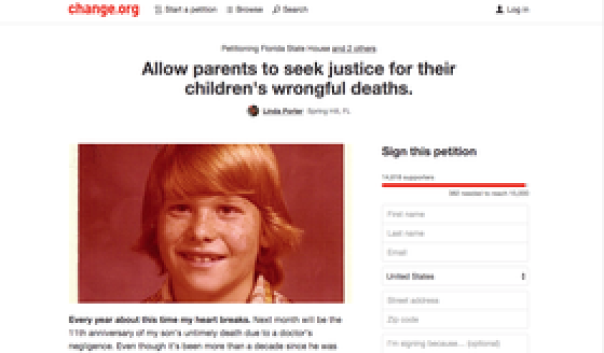 A screenshot of Linda Porter's Change.org petition at the time of publication.