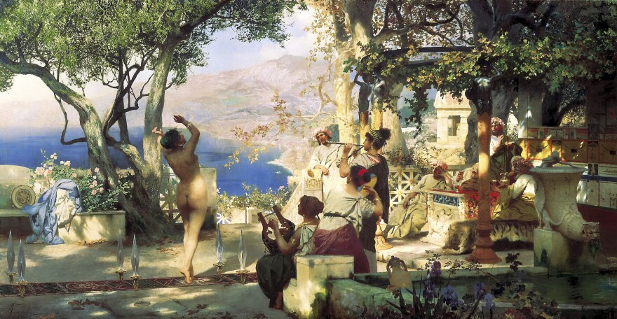 There are at least four known original versions of Henryk Siemiradzki's painting <em>The Sword Dance</em>. A version done in 1881 had been set to go up for auction Tuesday at Sotheby's in London but was pulled.