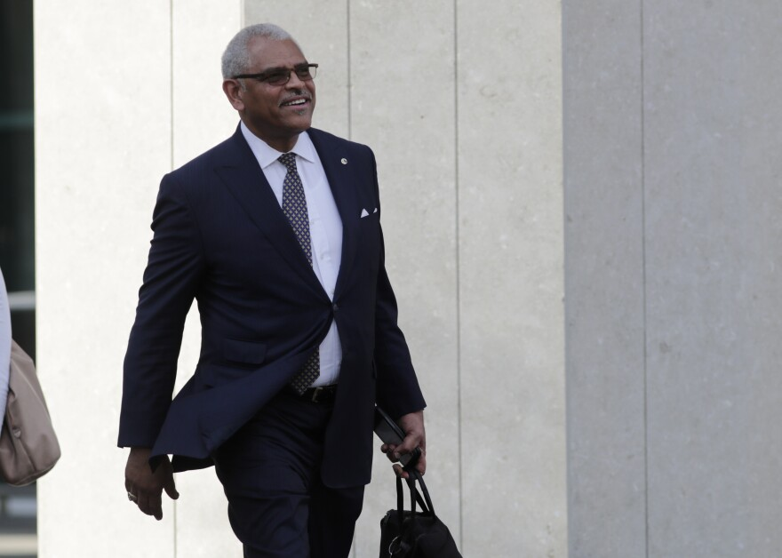 Carnival Corp. CEO Arnold Donald leaves federal court, Monday, June 3, 2019, in Miami. Carnival Corp. reached a settlement with federal prosecutors  to pay a $20 million penalty for violating a pollution probation.
