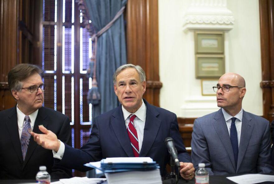 Lt. Gov. Dan Patrick, Gov. Greg Abbott and House Speaker Dennis Bonnen