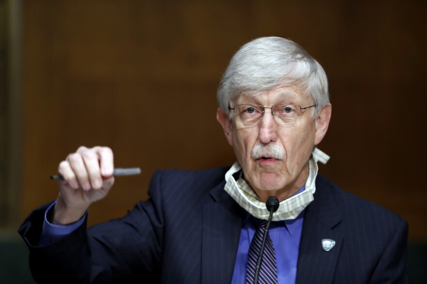 National Institutes of Health Director Dr. Francis Collins speaks during a Senate hearing earlier this year. On Thursday, Collins called on religious leaders to keep their worship spaces closed, despite rising protests from some church leaders.