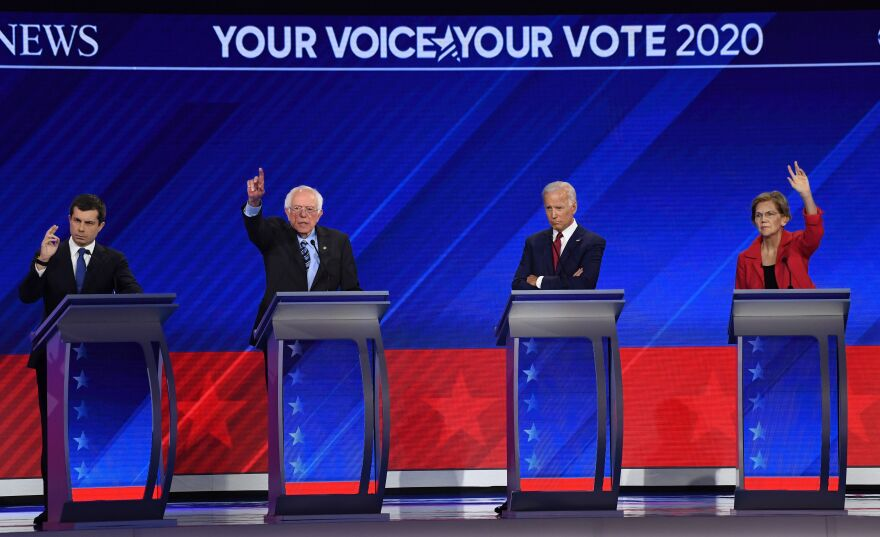 In Houston on Thursday, Democratic presidential hopefuls Mayor Pete Buttigieg, Sen. Bernie Sanders, former Vice President Joe Biden and Sen. Elizabeth Warren participate in the third Democratic primary debate of the 2020 presidential campaign season.