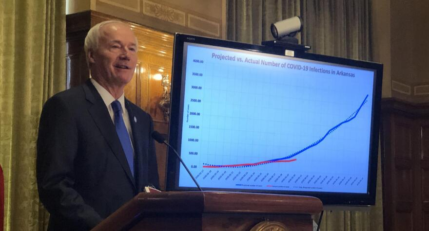 Governor Asa Hutchinson at a daily coronavirus press briefing.