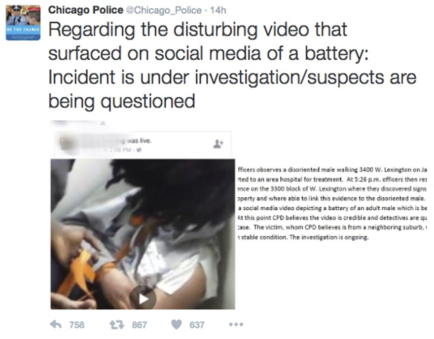 """This image, posted on the Chicago Police Department's Twitter page, shows a frame from a video broadcast live on Facebook in which a man is assaulted. Superintendent Eddie Johnson  called the video """"sickening."""""""