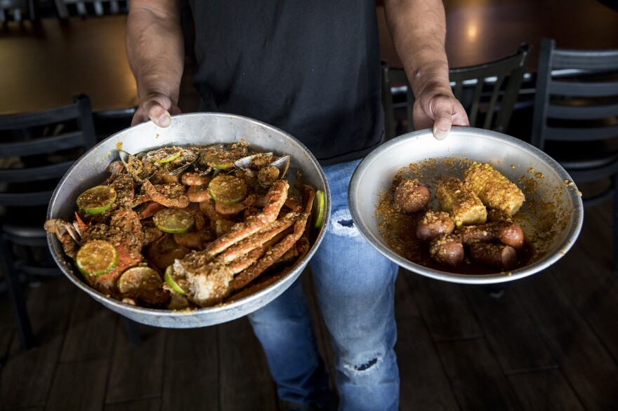 Mike Trinh serves Vietnamese-Cajun seafood, which is a food craze in Houston, at his restaurant, Mike's Seafood.