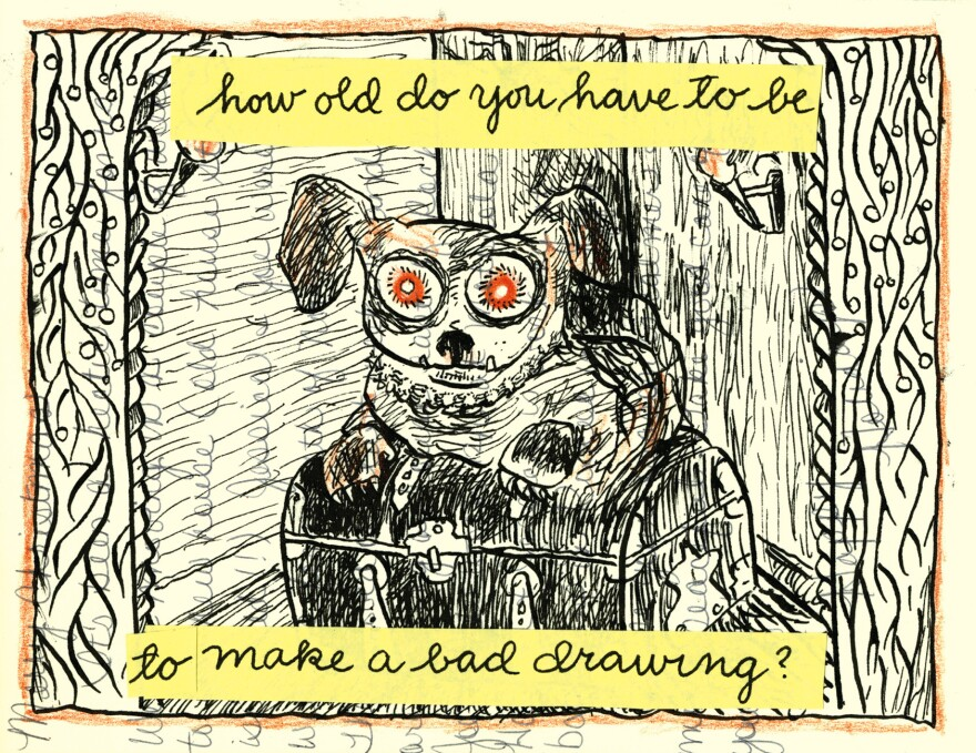Lynda Barry says young artists follow the movements of their own hands rather than setting an intention for a drawing.