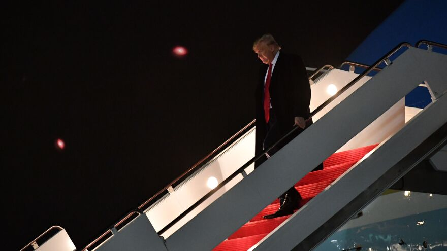 President Trump steps off Air Force One upon arrival at Andrews Air Force Base in Maryland Wednesday.