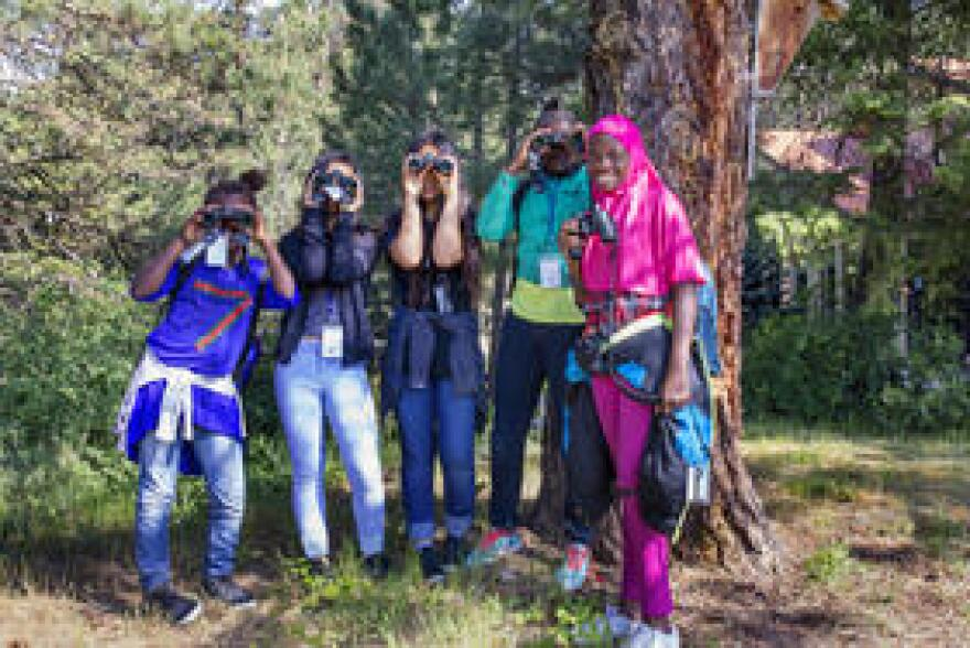 Students spend the day learning about bird habitat and pollination during one day of the camp.