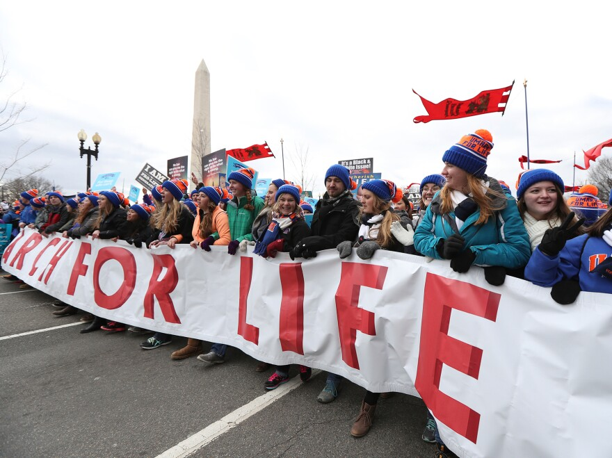 People in the March for Life near the National Mall in Washington, D.C., on Jan. 27.