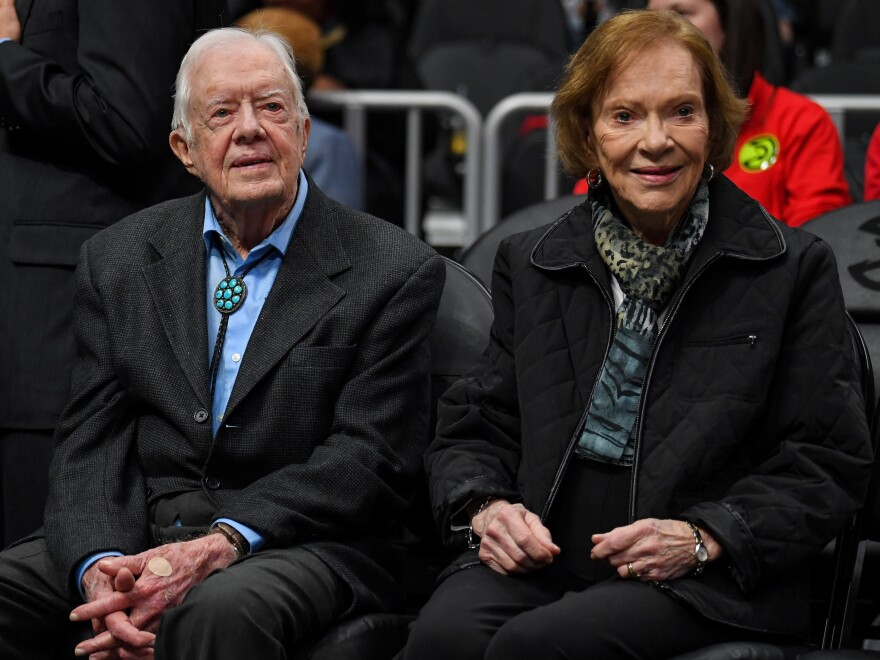 "After being taken to a hospital for observation and treatment of a minor pelvic fracture, former President Jimmy Carter ""is in good spirits and is looking forward to recovering at home,"" the Carter Center says."