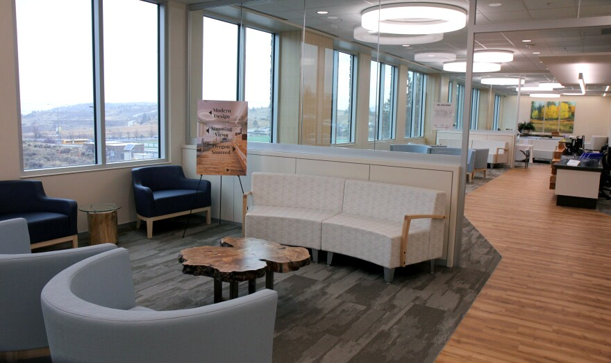 Image of couches in health center lobby.