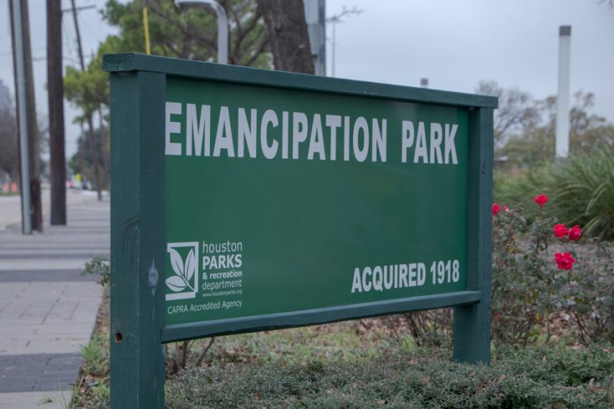 A sign for Emancipation Park in Houston