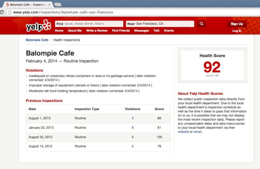 It can be a bit tricky to spot those health inspection scores on Yelp. If you're looking at the Yelp website, the information is listed in a box alongside the venue's hours, menu and price range.