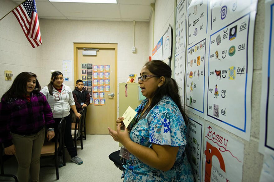 Patty Rodriguez, who works in the Edgewood Independent School District, says she still sees disparities in opportunities and funding for her students. (Laura Isensee/Houston Public Media)
