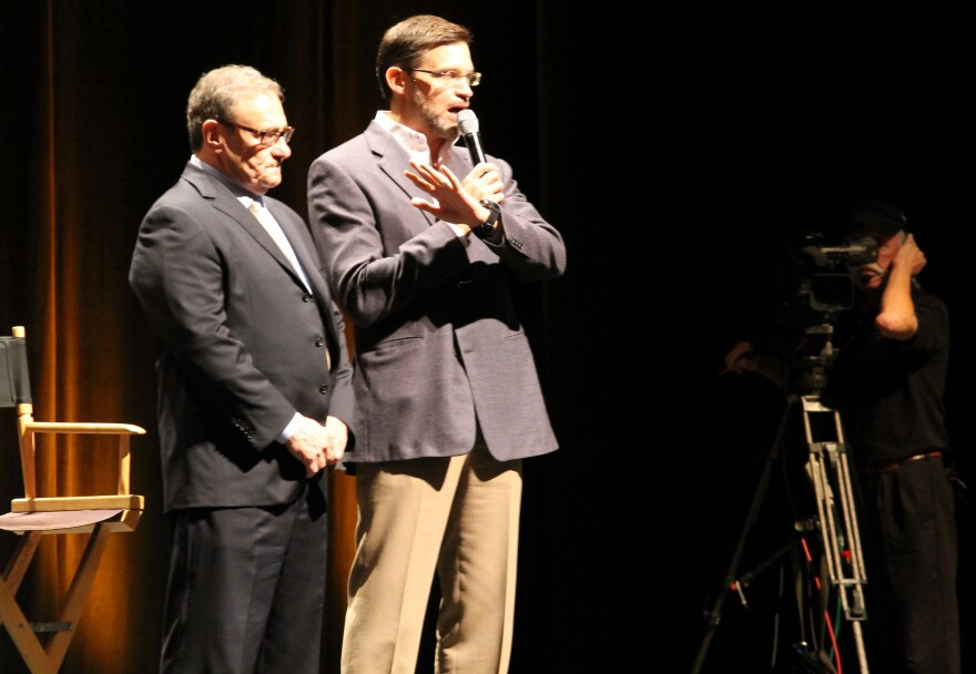 From left, stadium task force co-chairmen Dave Peacock and Bob Blitz speak to the crowd on Tuesday.