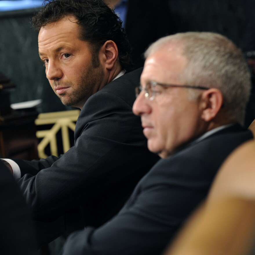 Live Nation CEO Michael Rapino, left, and Irving Azoff, then-CEO of Ticketmaster, photographed on Feb. 24, 2009. The pair were testifying during a congressional hearing on the merger between Live Nation and Ticketmaster.
