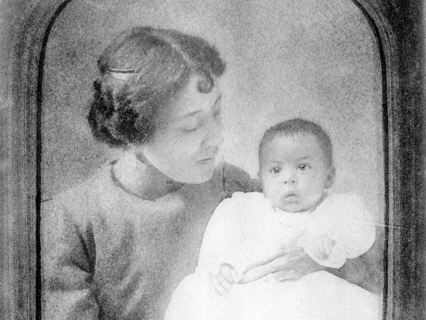 "Langston Hughes as a baby, held by his mother Caroline ""Carrie"" Mercer Langston."