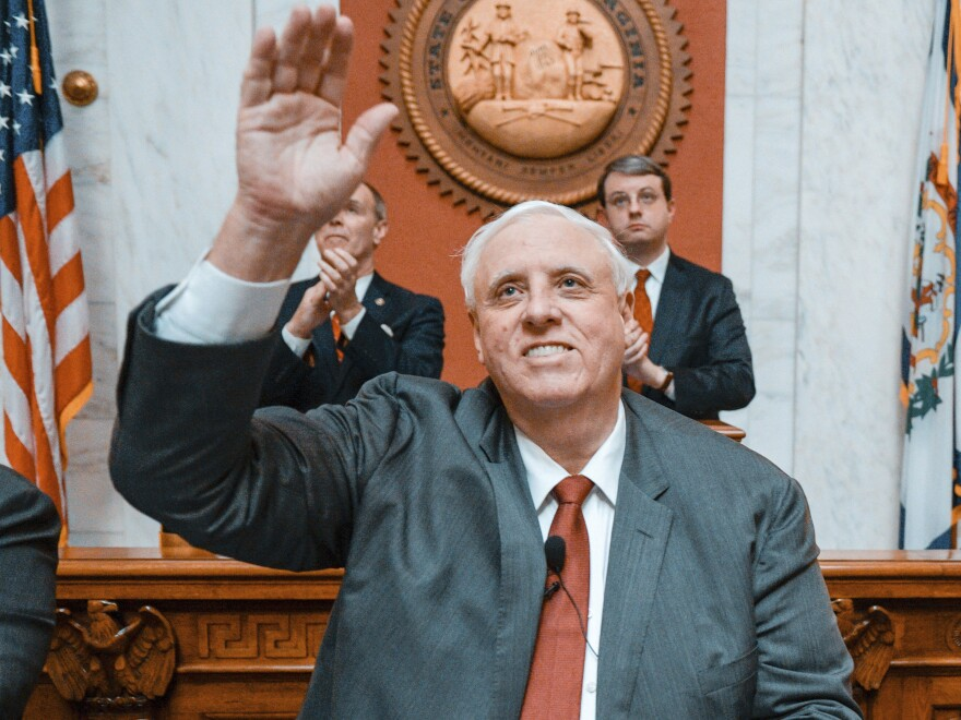 Gov. Jim Justice, W.Va., waves to the crowd at his annual State of the State speech on Jan. 9, 2019, in Charleston, W.Va.