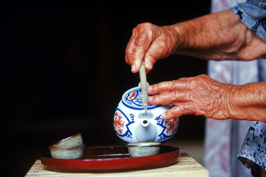 "In the Blue Zone of Okinawa, Japan, locals drink green tea with jasmine flowers and turmeric called <em>shan-pien</em>, which translates to ""tea with a bit of scent."""